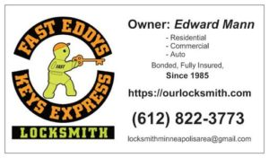 Fast Eddys Keys Express Business Card